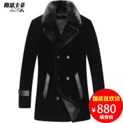 Male leather in the long fur fur cashmere wool coat suit water mink coat thickness