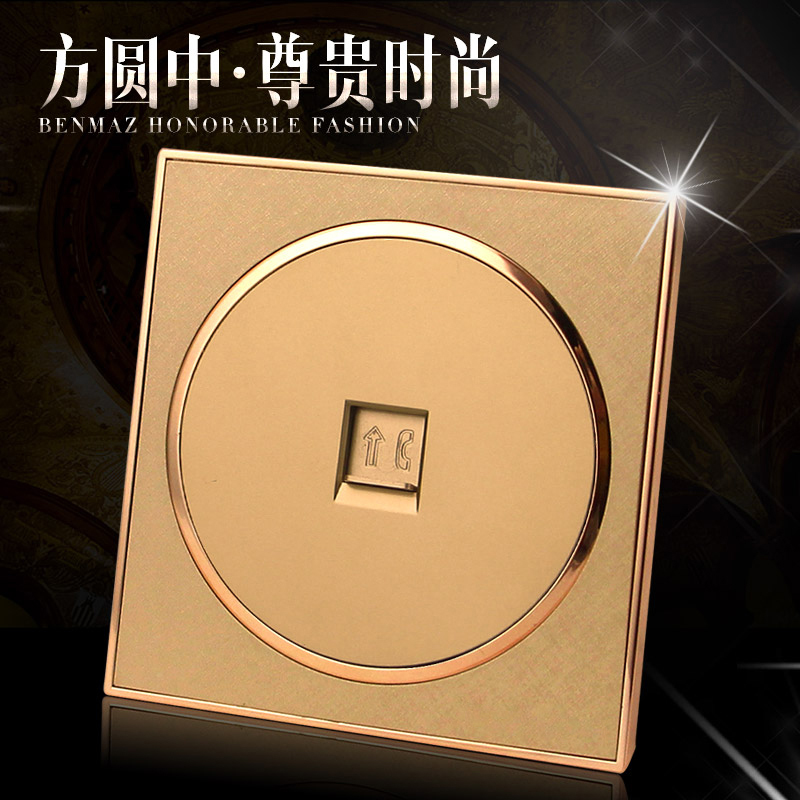 Model 86 wall switch socket champagne gold circular telephone socket fixed telephone line socket interface socket