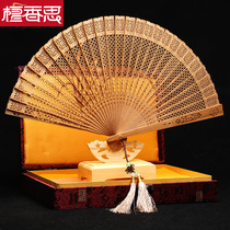 India Old Mountain sandalwood fan Folding Fan Collection Orchid carving fan technology fan classical hollow sandalwood wood fan