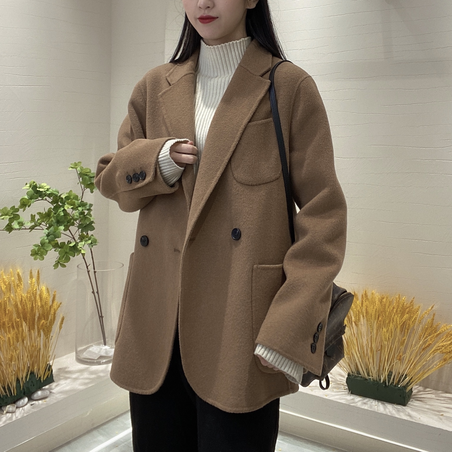 Blazer Womens spring and autumn double-sided cashmere coat Womens medium-long section 2021 explosion small thick wool tide