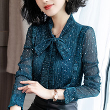 Lace bottoming shirt, long sleeves, autumn winter, bow tie, ears, new shirts, warm blouses, flannel and thickened sweaters.