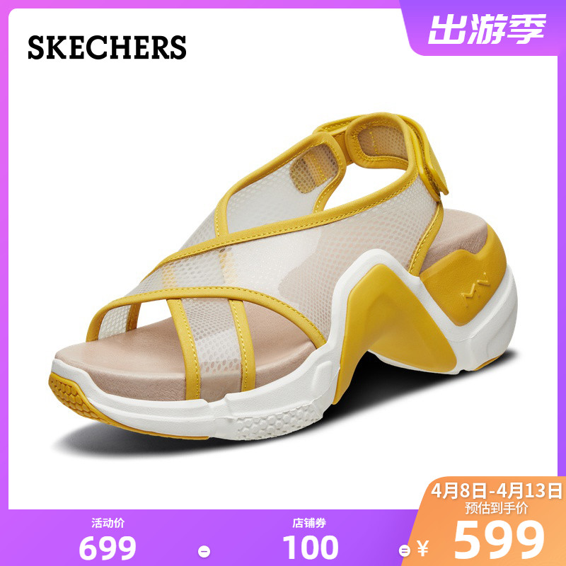 SKECHERS spring and summer 2020 new women's PVC cross belt sandals thick bottom Laoda shoes 69317