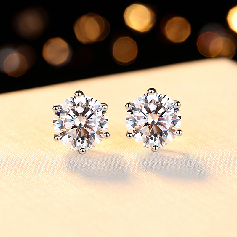 Zhou Dafu star platinum studded women PT950 six claw minimalist temperament earrings 18k platinum Mossan diamond earrings