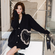SOMESOWE Official Authorized Love Mesh Splice Sweater Jacket Womens Autumn Thin Outer Knitted Cardigan
