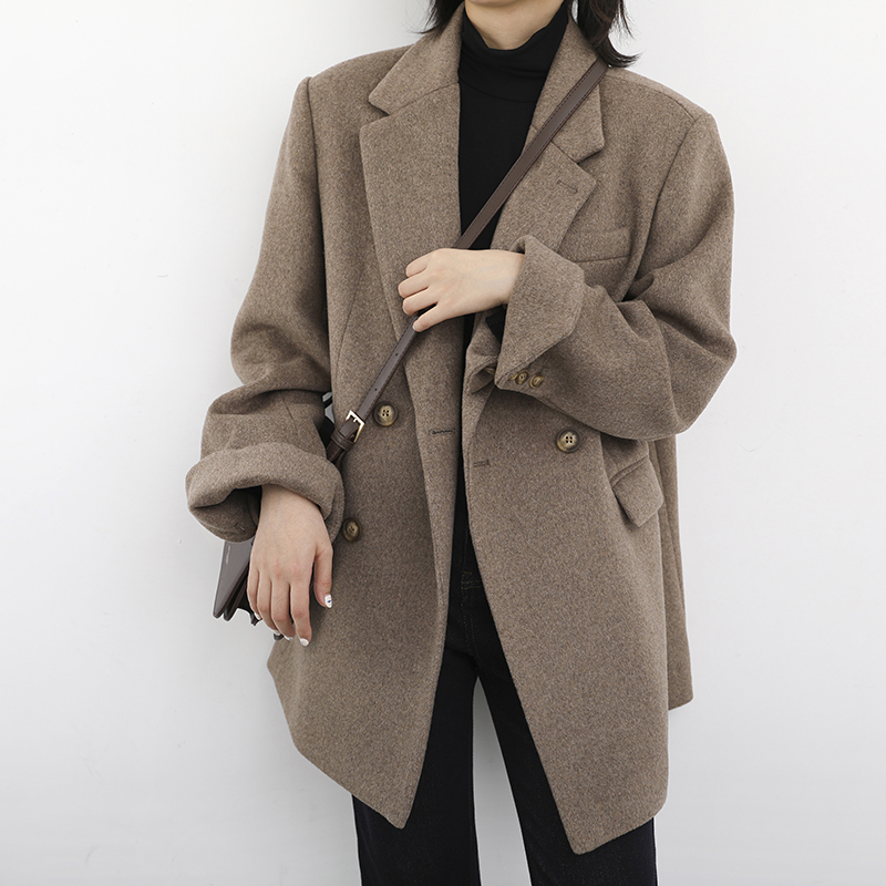 CHICVEN autumn winter Korean version of wide shoulder hair suit cotton jacket solid-color commuter medium-length version of the son-in-law