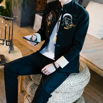 Tang suit jacket men spring and autumn Chinese style plate buckle coat mens antique Chinese clothes embroidery suit trousers two sets