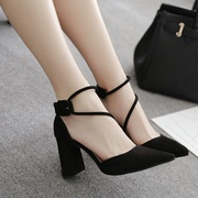 Korean black heels summer 2017 new female all-match crude sandals with hollow pointed shoes shallow mouth of Rome