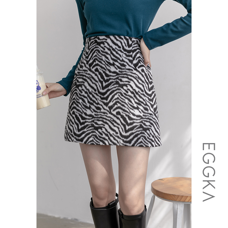 EGGKA zebra pattern high waist a-line skirt half-length skirt autumn and winter women's thin short skirt short velvet bag hip skirt thick retro skirt