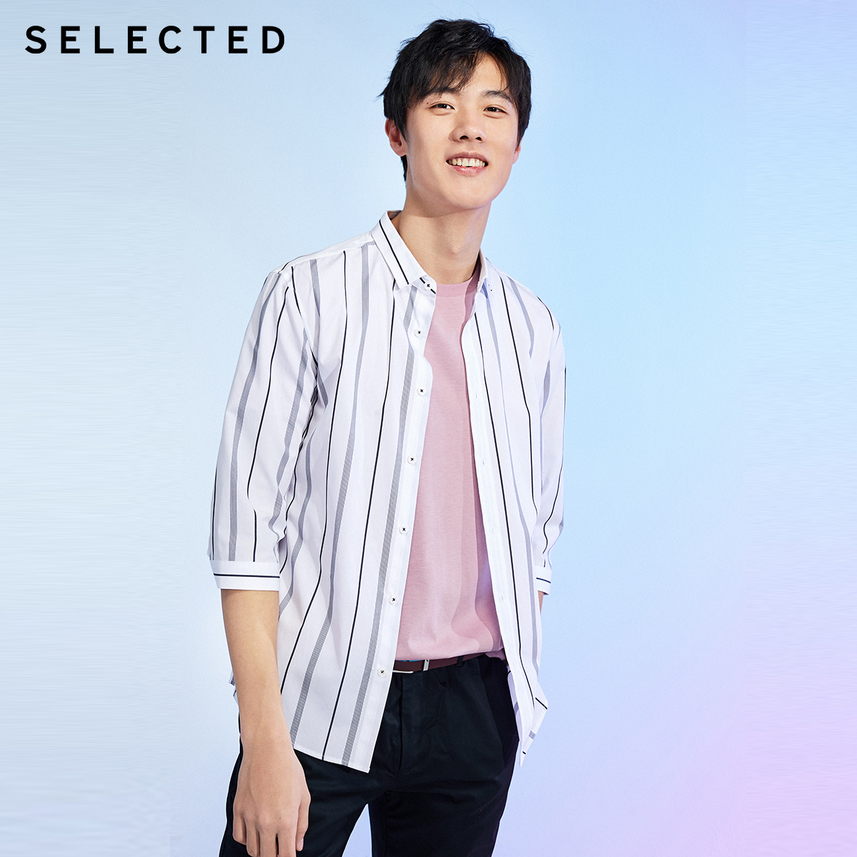 Selected Slade new pure cotton stripe fashion business leisure seven sleeve shirt men's s420131504