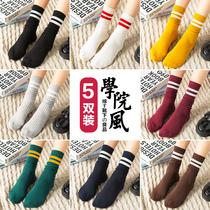 Антарктический человек носки женщины в стволе куча чулки хлопчатобумажные носки корейский длинный ствол японский ретро сети Красный улица осень зима INS прилив