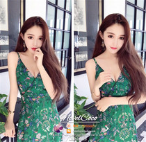 Thailand holiday goddess seaside harness low waist sexy printing sleeveless chiffon dress