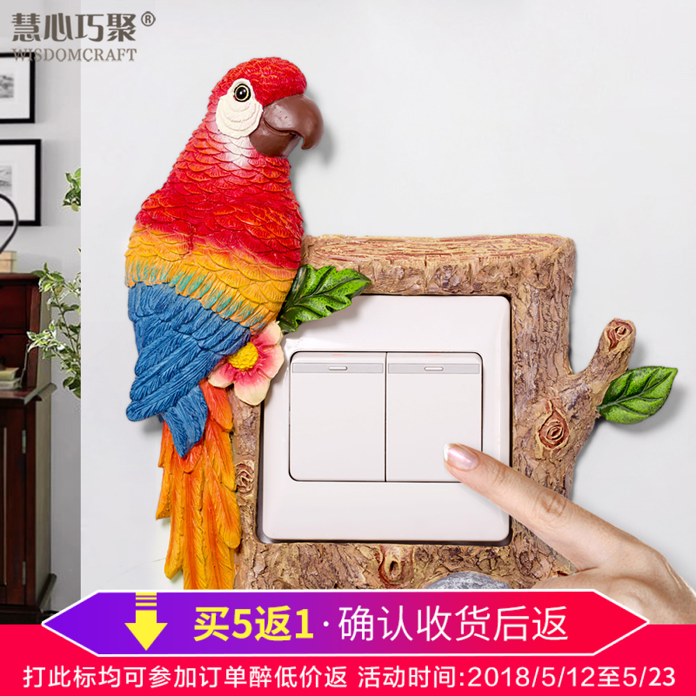 Creative wall lamp switch socket resin European power supply decorative Parrot