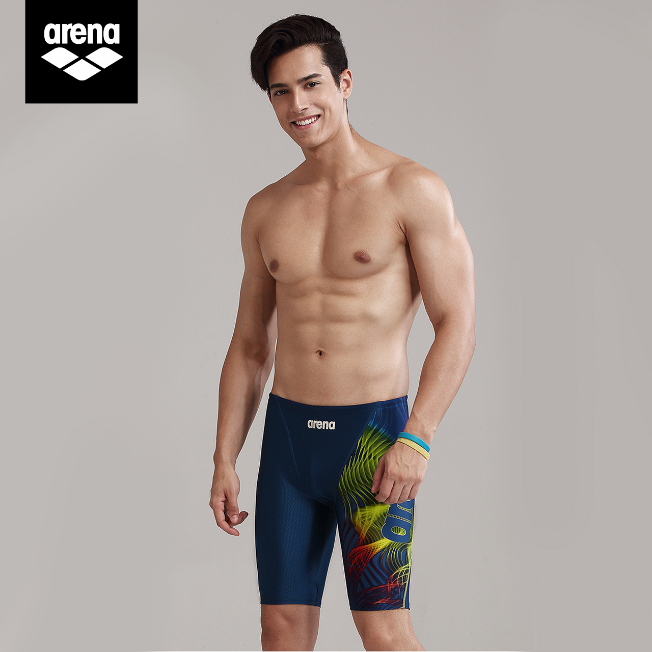 Arena arena men's 5-point swimming trunks and knee length professional training swimsuit high elasticity, quick drying and chlorine resistant swimming trunks