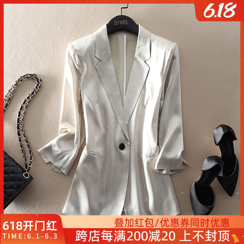 Exquisite commuting, crisp and all-around, one button seven sleeve blazer, Outerwear, women's top, thin acetate fabric suit