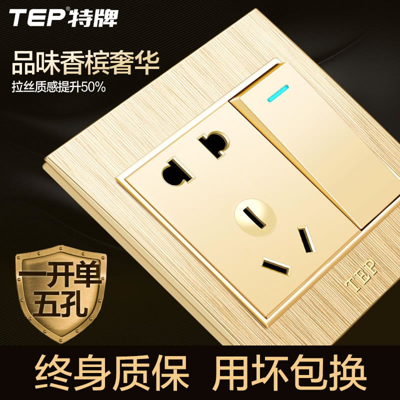 [3D Drawing] TEP five-hole socket with single-control switch, one-open five-hole socket champagne gold