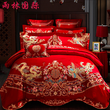 Wedding four sets of big red cotton embroidered wedding beds, 60 to 80 pieces of pure cotton embroidered bedding.
