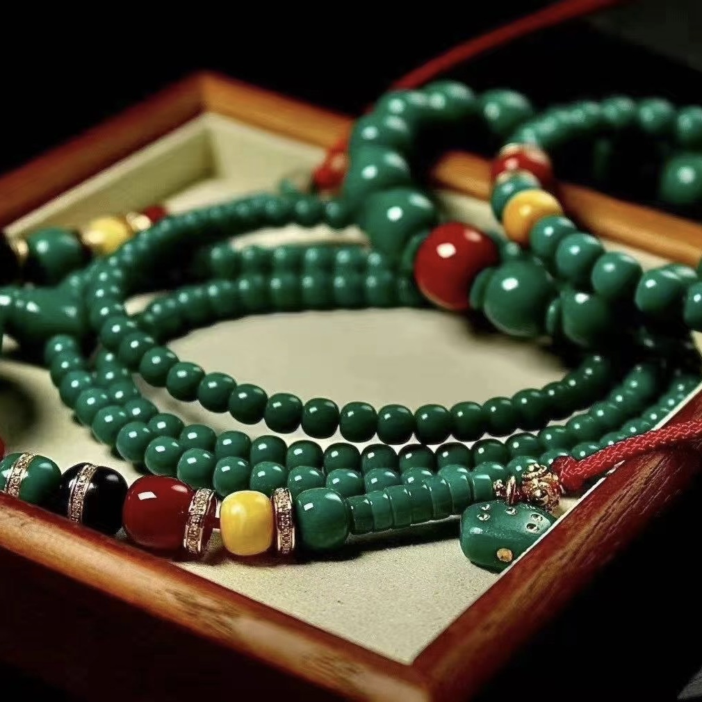 Bole original mine natural turquoise live 108 hand string old beaded single-錬 necklace mens and womens accessories