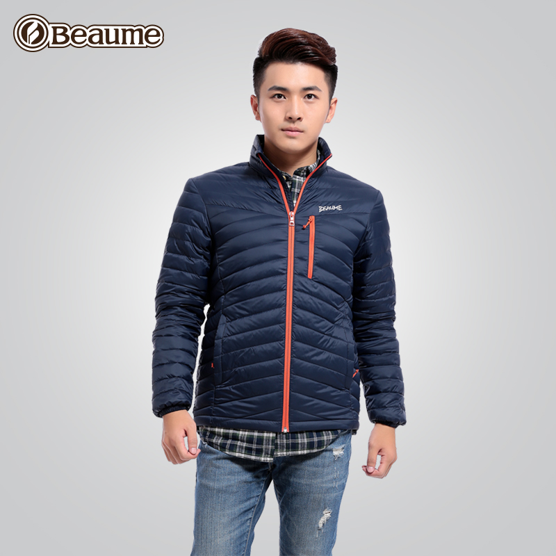 Beaume Baomei Outdoor New Lightweight White Down Dress Men's Thickened Collar Short Self-cultivation and Warm Coat