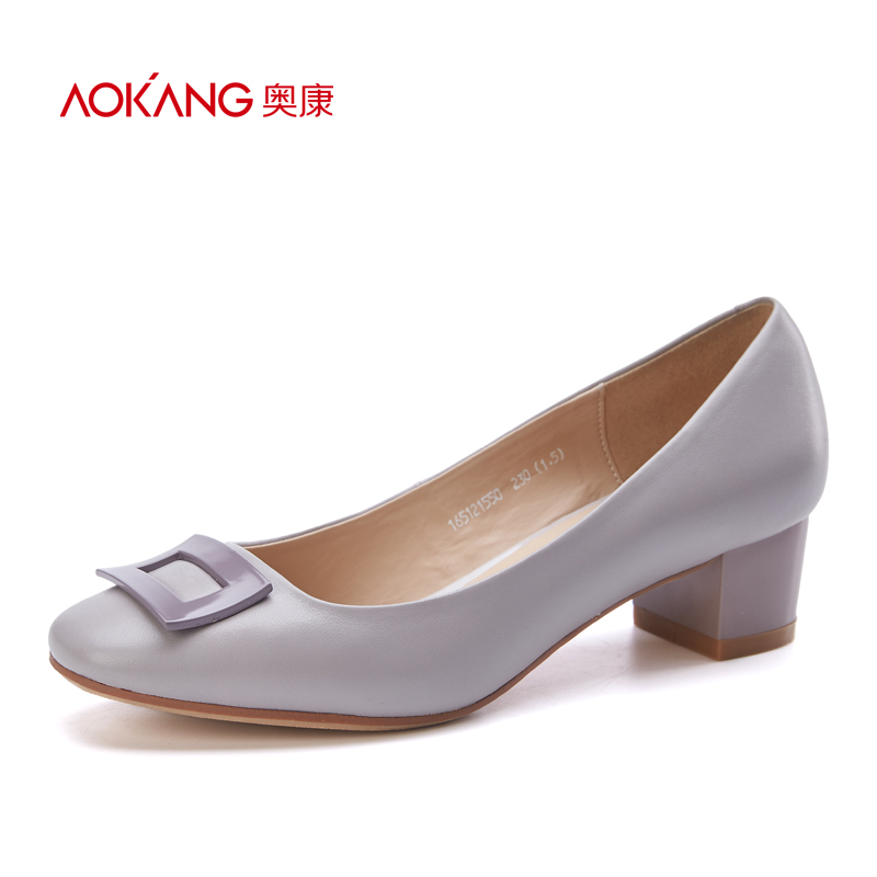 Aokang women's shoes 2017 spring and autumn new fashion geometry simple solid color leather thick with commuter women's shoes