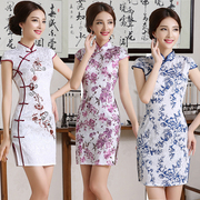 2017 new spring and summer self-cultivation slim short sleeve retro daily improvement of Chinese short dress cheongsam female big size
