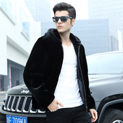 Haining imported 2017 winter mink men's leather mink mink fur with hooded jacket lapel