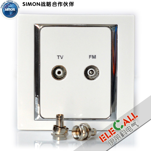 Simon switch upstart 58 series tandem TV FM socket S55115