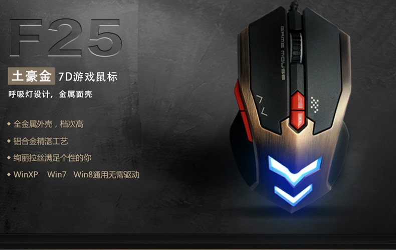 Guo Yu Wolf shark F25 local gold USB laptop LOL CF computer game Internet cafe wired mouse
