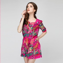 High-grade silk dress summer big brand mulberry Europe and the United States high-end fashion large size women loose loose dress