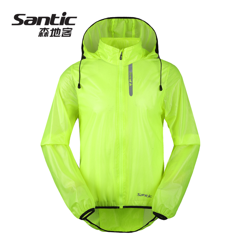 Santic Sendi Summer riding suit with hood sunscreen water-proof UV protection windbreaker men models Green Devils