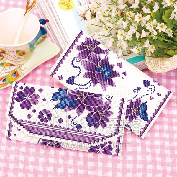 Ai-7 new womens three-fold long version of cross-stitch wallet dancing has been cropped