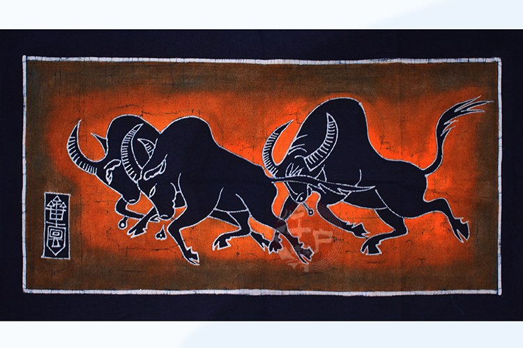 Miao batik single-layer painting Guizhou tourism specialty decorative murals Running Bull size: 55*103cm
