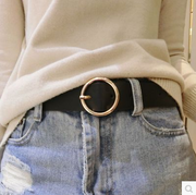 South Korea tide all-match simple dress belt belt round metal belt buckle belt ladies fine needle
