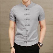 Chinese retro Shirt Short Sleeved costume male wind youth slim Chinese Pankou shirt tunic TianChao summer clothes