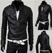 The spring and autumn new men's leather leather leather all-match Korean slim short black leather jacket coat collar men