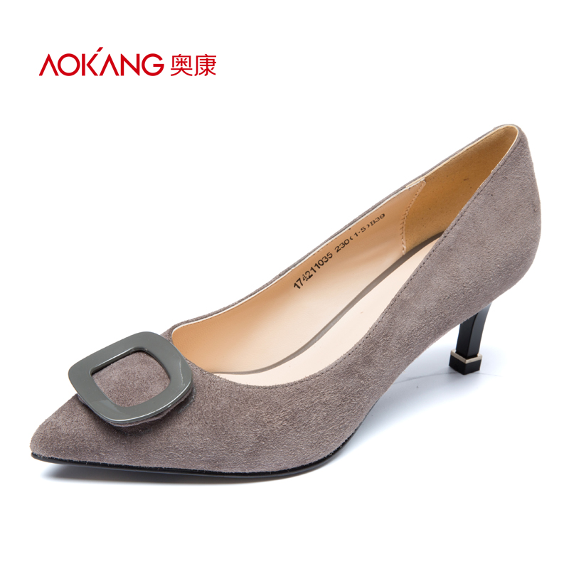 Aokang women's shoes autumn new product pointed buckle small fine with suede retro fashion high heels cat with single shoes