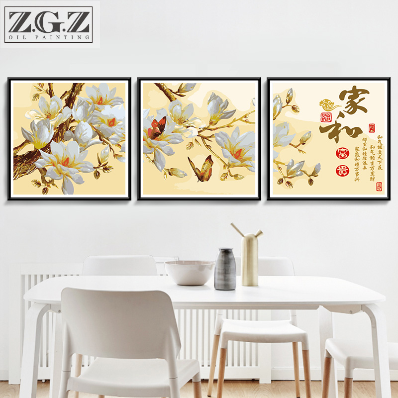 Diy Digital Oil Painting Living Room Flower Triple Painting Painting Hand Painting Decorative Painter and Magnolia