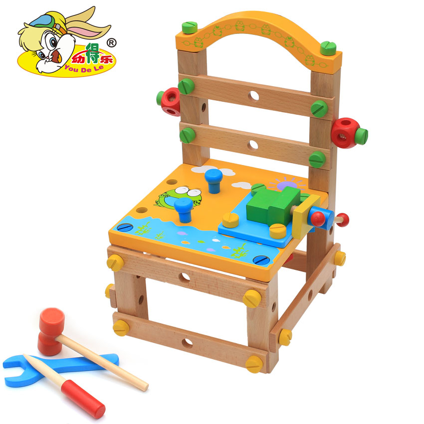 Young Delle Multifunctional Tool Chair, Luban Chair, Disassembly and Assembly Nut Combination Children's Building-block Early Learning Toys
