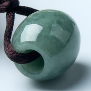 A male and female transport bead jade pendant natural a waxy Passepartout jade pendant oil green beans