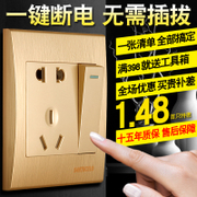 Wall switch socket panel set with single control switch two or three insert 86 type five hole socket champagne special