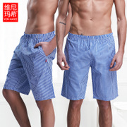 Men Pajama summer bourette loose big pants thin artificial silk cotton cotton Home Furnishing shorts five beach pants