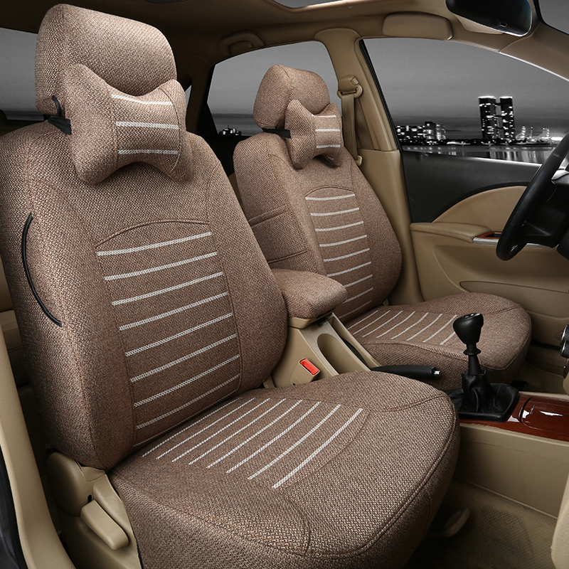 All-inclusive cotton linen car seat cover Volkswagen Toyota Buick Nissan Chevrolet Haval Fox support customization