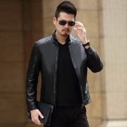 Hitz Pu Leather Men's business casual coat collar Korean spring thin slim leather jacket men