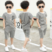 The big boys summer children sports 2017 new summer wear short sleeved suit children in two sets of Korean tide clothing