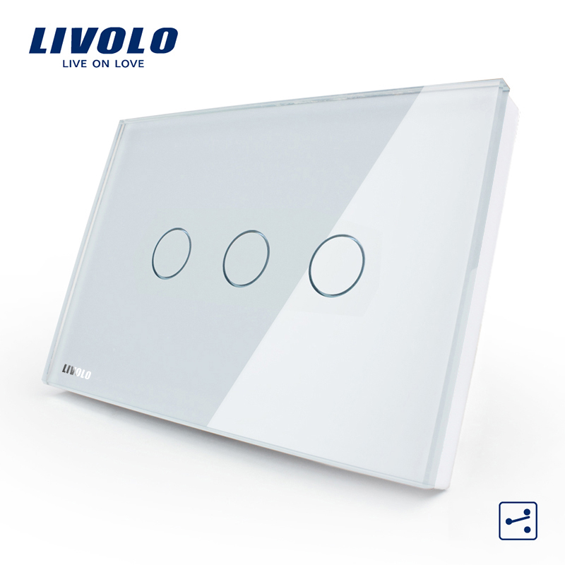 [The goods stop production and no stock]Livolo switch 118 touch switch smart home products / rectangular C8 white touch dual control three open