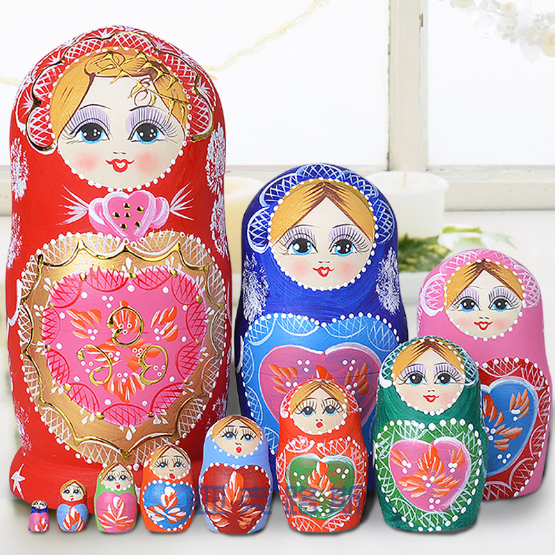 YAKELUS Authentic Basswood original authentic gifts Russian matryoshka 10 layers 1051