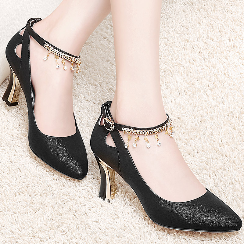 Leather Shoes Women's Shoes Summer 2019 New Korean Version Medium-heeled Fine-heeled Spring and Autumn Shallow-mouth Single Shoes Thick-heeled Fashion High-heeled Shoes