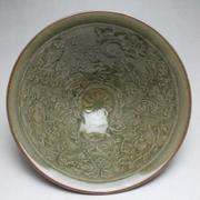 The Song Dynasty Yaozhou celadon bowl carved baby play antique antique porcelain ornaments of miscellaneous Home Furnishing