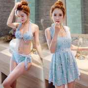 The female swimsuit three piece bikinis blouse small chest gather sexy fashion show thin skirt Korean Swimsuit Cover belly
