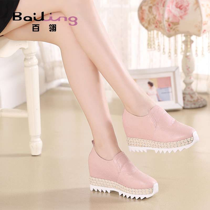 Bailing New Style 2009 Spring and Autumn Fashion Women's Shoes with Round Head Slope and Pink Hemp Rope Increasing Leisure Small Size Women's Shoes