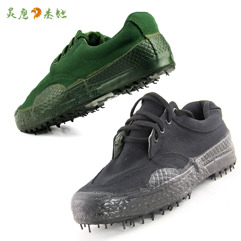 Ling Ying base training shoes black army green camouflage army fan shoes liberation rubber men's shoes low help breathable tactical shoes